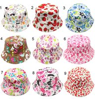 Wholesale girls bucket hats - 30 color children flowers sun basin cap wholesale temperament sunshine leisure children fisherman hathat UV Sun Protective Bucket Hat