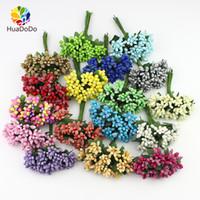Wholesale light boxes displays online - 144pcs mini Berry Artificial Stamen Bud flower bouquet for Wedding Box corsage Decoration DIY Craft wreaths Fake Flowers