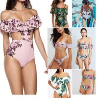 bikini despojado al por mayor-nueva llegada Bkini moda Lady flores Stripped print Bikini Set sexy Hollow out traje de baño Triángulo unos pedazos bikini set S / M / L / XL