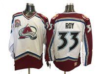 patches vintage achat en gros de-Chandails de hockey Patrick Roy Vintage Colorado Avalanche Blanc 00-01 Saison Maison Vintage Chandail Patrick Roy # 33 avec écusson de la coupe Stanley 2001