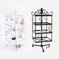 Wholesale display stands for earrings - Wholesale High Quality Black White Rotating Metal Earring Display Stand Holder Rack For 128 Holes