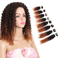 Wholesale ombre curly braiding hair online - Rare Hair Ombre Brown Jerry Curly Synthetic Hair Weave Bundles quot quot Inches Human Hair Extensions T1B