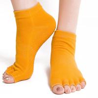 blue football socks Canada - 1 Pair Nonslip Silicone Bottom Toeless Yoga Socks Open Toes Half Finger Anti-slip Sport Socks for Gym Fitness Training Exercise