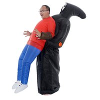 fazer trajes de cabeça de mascote venda por atacado-Adultos adolescentes Trajes de Halloween Assustador Fantasma Inflável Traje Unisex Outfit Carnaval Partido Mulheres Homens Fancy Dress mascote