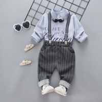 4fcbd0c837cc9 Spring Toddler kids outfits 2018 new boys beard tie letter printed round  collar long sleeve shirt+casual stripe suspender pants 2pcs sets R2