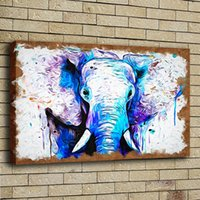 Wholesale african art wall decor - HD Print Poster Oil Painting Wall Art Painting African Elephant Hand Giclee Wildlife Animal Picture on Canvas Illustration Home Decor