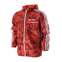 schwarzer windbrecher großhandel-Mens Brand Stripped Windbreaker Schwarz Blau Rot Fashion Reißverschluss Mit Kapuze Äußere Männer Günstige Kleidung Kostenloser Versand