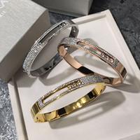 móvel ouro chapeamento venda por atacado-Luxo moda jóias de lama branca cheia de diamantes pulseira de titânio pulseira de aço banhado a ouro rosa 18K fivela móvel três pulseira de diamantes