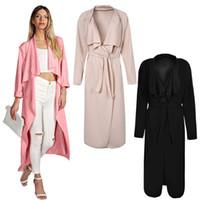 mujer rosa zanja al por mayor-Plus Size Fashion Pink Mujer Otoño Largo Trench Coat Capa Cárdigan Cinturón Abrigos Mujer X-largo Escudo Casaco Feminino J67