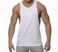 mann tank t-shirts großhandel-Herren Tank Tops Sommer atmungsaktiv reine Farbe Baumwolle T-Shirts starke Männer Gym Sport Laufbekleidung