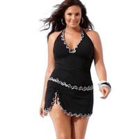 babados de maiô preto branco venda por atacado-Sexy plus size one piece mulheres swimwear branco lace ruffle com decote em v preto swimsuit mulheres senhoras beachwear banho terno