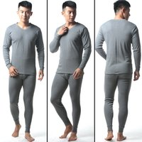 Wholesale Long Johns Sets For Men - 2017 Hot Winter Mens cotton V-neck Warm Thermal Underwear Mens Long Johns Sets comfortable Long Johns For Man 4 colors