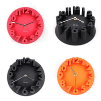 Wholesale Analog Alarm Clocks - Fashion 3D Digital Quartz Clock Four Colors Stereo Circular Arc Shape Timepiece Mute Wall Hanging Alarm Clocks Creative 22hl Y