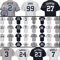 Wholesale Green Mantle - 2018 new mens adult 99 Aaron Judge New York 27 Jersey 23 Don Mattingly 2 24 3 Ruth 7 Mantle Rivera Williams Jerseys