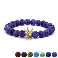 ingrosso pietre di pavimentazione diy-Pavimenta CZ King Crown Charm 8mm colorato vulcanico pietra lavica borda il braccialetto diy aromaterapia olio essenziale bracciale diffusore gioielli