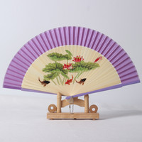 Wholesale violet paint for sale - Group buy Coloured Drawing Spun Silk Fan Women Originality Painting Process Exquisite Bamboo Folding Fans Party Wedding Gifts my Ww