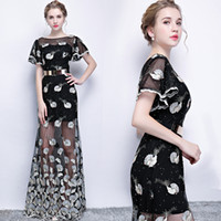 Wholesale Evening Dresses Straight Line - SSYFashion New Black Evening Dress The Banquet Elegant Lace Embroidery Straight Long Party Prom Formal Gown Custom Robe De Soiree