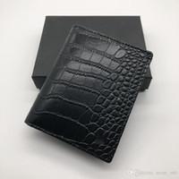 Wholesale card holder crocodile - Luxury men's fashion leather wallet MB short clip brand designer card package MT business card holder high quality M B crocodile patter