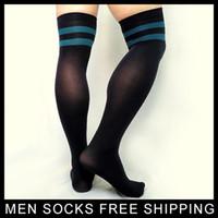 erkekler için iş çorapları toptan satış-Uyluk Yüksek Naylon Çizgili Çorap Erkek Uzun Tüp Için Seksi Eşcinsel Erkek Çorabı Hortum Siyah Elastik Iş Adamı Resmi Sox