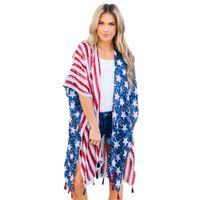 rebeca de manga larga femenina al por mayor-Mujeres sueltas Long Beach Coast Flag Print Mujeres Abrigo F2974 Batwing Sleeve Split Dobladillo con borlas