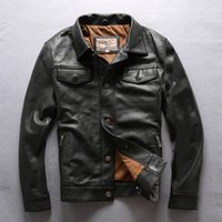 Wholesale cow leather jackets - Black AVIREXFLY Men leather jackets lapel neck cow leather jacket with single breasted motorcycle Jackets