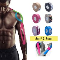 Wholesale sticker lavender resale online - 5m x cm Kinesiology Kinesio tape Roll Cotton Elastic Adhesive Sticker Muscle patch Tape Bandage Physio Strain Injury Support