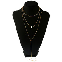 ingrosso lunghe perle faux-Nuovi monili dorati della collana del corpo del pendente del pendente della perla di Faux della lega lunga multistrato sexy all'ingrosso