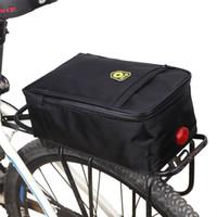 Wholesale handbags rack resale online - Waterproof Bicycle Back Seat Bag Road Bike Rack Back Rear Seat Tail Carrier Trunk Pouch Handbag with Light Black Pannier Bags