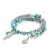 ingrosso ornamenti in halloween in rilievo-4 colori braccialetto regalo per le donne Fashion String Ornament Ragazze Double Tier Turquoise Leaves Bracciale perline trapano cerchio viaggiatore