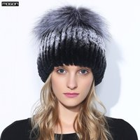 Wholesale Top Trapper Hats Men - Wholesale- Winter Rex Rabbit Adult Fur Hat For Women With Fox Pom Poms Top Knitted Beanies Hats 2017 New Brand Causal Good Quality Caps