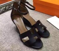 yüksek moda balık deri toptan satış-2018 Kadınlar 100% Gerçek deri Yaz Yüksek Topuk Bahar Yaz Sandalet Moda Kadın Ayakkabı Ayak Bileği Sapanlar Balık Ağzı Ince Topuk Platformu