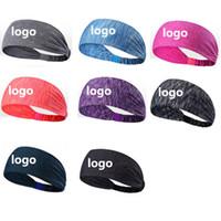 logo kafa bandı toptan satış-Özel Logo Spor Bandı Yoga Bandı Çabuk Kuruyan Elastik Bantlar Spor Fitness DHL Çalışma için Gym Saç Bantları Çalışma