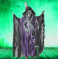 ingrosso suoni fantasma di halloween-Light Up Eyes Hanging Ghosts Haunted House Escape Horror Puntelli Electric Sound Control Sharp Hat Piccolo fantasma Decorazioni di Halloween