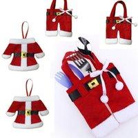 santa silberwarenhalter großhandel-Hot 6 Set Christma Toys Ornamente Dekoration Merry Santa Besteck Halter Taschen Weihnachtsschmuck für zu Hause heiß 2018