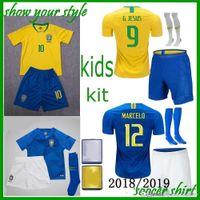 neymar jr brasil jersey al por mayor-Tailandia Brasil KIT DE KID Camiseta de fútbol 2018 Copa del Mundo Brasil T KIT 10 NEYMAR JR Camiseta de fútbol 9 G.JESUS 11 COUTINHO MARCELO 12 Marcos