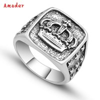 Wholesale cool hot jewelry resale online - Hot Sell Punk Arrival Silver Color Crown Signet Ring Men Carved Star Vintage Ring Male Jewelry Cool Unique Gift Drop Shipping