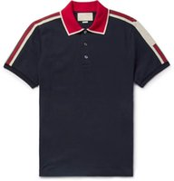 pist ışığı toptan satış-Pist Işık Pamuk polo adam için şerit ile t gömlek Yeni gelmesi İtalya tasarım marka kontrast yaka polo g t gömlek erkekler moda poloshirt