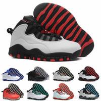 çift spor sütyen toptan satış-Ucuz En kaliteli 10 erkekler basketbol ayakkabı çelik bobcats toz mavi boğa broadway çift üzerinde nikel chicago spor sneaker Çizmeler