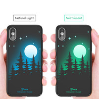 Wholesale hard glow dark case for sale – best Luminous Back Case for iPhone X Glow in the Dark D Relief Painting Fluorescent Color Changing Hard Case Cover Slim Protective Back Shell