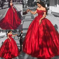 vestido de satén rojo corsé al por mayor-Vestidos de quinceañera de corsé fuera del hombro Vestidos de fiesta formal de satén rojo Apliques de encaje con lentejuelas apliques de baile Vestidos de baile