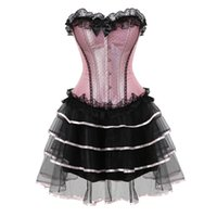 Wholesale corset for women costume for sale - lace sexy corsets for women plus size costume overbust burlesque corset and skirt set tutu corselet victorian fashion gowns pink