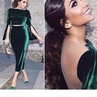 gri kadife elbise toptan satış-2019 Kış İki Adet Robe Dubai Kadife Örgün Kokteyl Elbiseleri Kısa Örgün Törenlerinde Çay Uzunlukta Arapça vestido Parti Akşam giymek