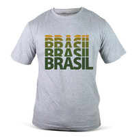 Wholesale fifa online - 1228 GY Brasil Brazil FIFA World Cup Football Soccer Grey Mens T Shirt