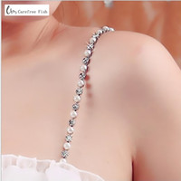 497bc54b7 Top Imitation Pearls Invisible Bra Straps Dress Faux Bra Straps Single Row  Clear Crystal Sex Chain for Bridal Wedding Prom 1007