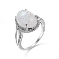 Wholesale statement pieces wholesale - 10 Pieces 1 lot Trendy Statement Fire Rainbow Opal Gems Silver Rings Russia American Australia Weddings Rings Jewelry Gift