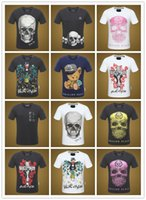 Wholesale Famous Cartoons - 100% Cotton 2018 high quality famous 3D diamante Tiger Skull Heads hip hop o-neck short sleeve t shirt slim fit for men Tees