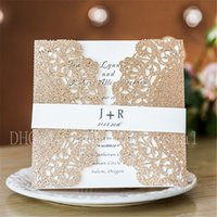Wholesale elegant floral cut wedding invitations - 2018 Elegant Rose Gold Glittery Floral Laser Cut Wedding Invitations With White Envelope, Free Printing, Free shipping