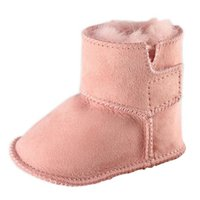 bebek botları toptan satış-JOYHOPY Kış Bebek Ilk Yürüyüşe Bebekler Sıcak Ayakkabı Faux Kürk Kız Bebek Patik Deri Erkek Bebek Çizmeler