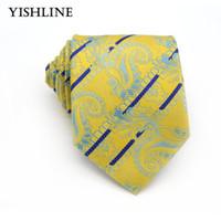 мужские желтые костюмы оптовых-KT150 желтый синий Пейсли галстуки для мужской деловой костюм галстук 8 см повседневная мужской жаккард тканые шелковые галстуки шеи свадьба галстук