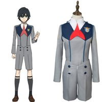Wholesale japanese costume male - Japanese Anime DARLING in the FRANXX Cosplay Hiro 016 Cosplay Jumpsuit Men Cosplay Costume Japanese Anime Full Set